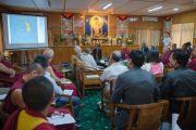 """Во время доклада С. К. Раджу на конференции """"Древнеиндийская философия и современная наука"""" в резиденции Его Святейшества Далай-ламы. Дхарамсала, Индия. 19 апреля 2016 г. Фото: Тензин Чойджор (офис ЕСДЛ)"""