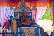 Его Святейшество Далай-лама во время учений у священного озера Цо Пема. Ревалсар, штат Химачал-Прадеш, Индия. 13 июля 2016 г. Фото: Тензин Пунцок (офис ЕСДЛ)
