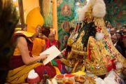 Его Святейшество Далай-лама и оракулы Тибета во время празднования дня рождения Гуру Падмасамбхавы в монастыре Оргьен Херука на озере Цо-Пема. Ревалсар, штат Химачал Прадеш, Индия. 14 июля 2016 г. Фото: Тензин Пхунцок (офис ЕСДЛ)