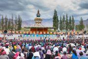 Вид на футбольное поле Тибетской детской деревни Чогламсара во время визита Его Святейшества Далай-ламы. Ладак, штат Джамму и Кашмир, Индия. 7 августа 2016 г. Фото: Тензин Чойджор (офис ЕСДЛ)