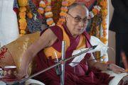 Его Святейшество Далай-лама дарует наставления в женском монастыре Гаден Чатньянлинг в Тикси. Ладак, штат Джамму и Кашмир, Индия. 12 августа 2016 г. Фото: Тензин Чойджор (офис ЕСДЛ)