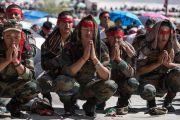 Слушатели во время посвящения Авалокитешвары, даруемого Его Святейшеством Далай-ламой. Ле, Ладак, штат Джамму и Кашмир, Индия. 21 августа 2016 г. Фото: Тензин Чойджор (офис ЕСДЛ)