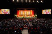 Вид на сцену спортивно-концертного комплекса «Зенит» во время учений Его Святейшества Далай-ламы по сочинению Нагарджуны «Толкование бодхичитты». Страсбург, Франция. 17 сентября 2016 г. Фото: Оливье Адам