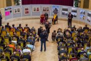 Его Святейшество Далай-лама беседует со студентами и преподавателями университета им. Коменского. Братислава, Словакия. 16 октября 2016 г. Фото: Сомоджи