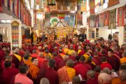 Его Святейшество Далай-лама обращается к представителям духовенства в дацане Йига Чолинг. Улан-Батор, Монголия. 19 ноября 2016 г. Фото: Игорь Янчеглов (фонд «Сохраним Тибет»)