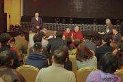 Его Святейшество Далай-лама общается с членами Центра Джецун Дампы, который оказывает духовную поддержку заключенным и неизлечимо больным людям, а также их семьям. Улан-Батор, Монголия. 21 ноября 2016 г. Фото: Тензин Такла (офис ЕСДЛ)