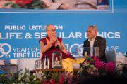 Его Святейшество Далай-лама выступает с публичной лекцией в рамках празднования 50-й годовщины Тибетского дома Нью-Дели и столетия со дня основания Института тибетской медицины и астрологии Мен-ци-кханг. Нью-Дели, Индия. 9 декабря 2016 г. Фото: Тензин Чойджор (офис ЕСДЛ)