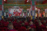 Некоторые из 3000 зрителей на международном симпозиуме «Эмори–Тибет». Мундгод, штат Карнатака, Индия. 18 декабря 2016 г. Фото: Тензин Чойджор (офис ЕСДЛ)