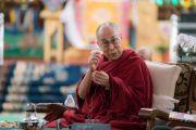 Его Святейшество Далай-лама произносит заключительную речь в последний день работы конференции «Эмори–Тибет». Мундгод, штат Карнатака, Индия. 20 декабря 2016 г. Фото: Тензин Чойджор (офис ЕСДЛ)