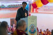 Сикьонг Лобсанг Сенге выступает на торжественной церемонии в честь 600-летия монастыря Дрепунг в монастыре Дрепунг Лачи. Мундгод, штат Карнатака, Индия. 21 декабря 2016 г. Фото: Тензин Чойджор (офис ЕСДЛ)