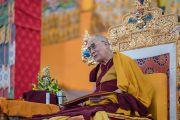 Его Святейшество Далай-лама во время третьего дня учений, предваряющих посвящение Калачакры. Бодхгая, штат Бихар, Индия. 7 января 2017 г. Фото: Тензин Чойджор (офис ЕСДЛ)