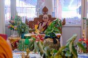 Его Святейшество Далай-лама во время подготовительных церемоний к посвящению Калачакры. Бодхгая, штат Бихар, Индия. 8 января 2017 г. Фото: Тензин Чойджор (офис ЕСДЛ)