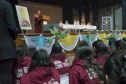 Его Святейшество Далай-лама читает лекцию в Колледже Иисуса и Марии. Нью-Дели, Индия. 7 февраля 2017 г. Фото: Тензин Чойджор (офис ЕСДЛ)