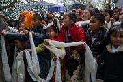 Стоя под дождем, юные тибетцы ожидают прибытия Его Святейшества Далай-ламы в институт Норбулинка. Дхарамсала, Индия. 9 марта 2017 г. Фото: Тензин Чойджор (офис ЕСДЛ)