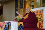 Его Святейшество Далай-лама дарует учения по текстам Джатак в главном тибетском храме. Дхарамсала, Индия. 12 марта 2017 г. Фото: Тензин Чойджор (офис ЕСДЛ)