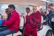 Его Святейшество Далай-лама и главный министр штата Аруначал-Прадеш Пема Кханду прибывают на открытие мемориального музея Дордже Кханду. Таванг, штат Аруначал-Прадеш, Индия. 9 апреля 2017 г. Фото: Тензин Чойджор (офис ЕСДЛ)