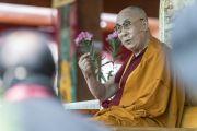Его Святейшество Далай-лама дарует учения в монастыре Дискет. Дискет, долина Нубра, штат Джамму и Кашмир, Индия. 11 июля 2017 г. Фото: Тензин Чойджор (офис ЕСДЛ)