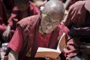 Пожилой монах читает текст во время первого дня учений Его Святейшества Далай-ламы в монастыре Дискет. Дискет, долина Нубра, штат Джамму и Кашмир, Индия. 11 июля 2017 г. Фото: Тензин Чойджор (офис ЕСДЛ)