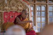 Его Святейшество Далай-лама дарует учения в монастыре Дискет. Дискет, долина Нубра, штат Джамму и Кашмир, Индия. 13 июля 2017 г. Фото: Тензин Чойджор (офис ЕСДЛ)