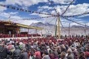 Вид на площадку учений Его Святейшества Далай-ламы в монастыре Дискет. Дискет, долина Нубра, штат Джамму и Кашмир, Индия. 13 июля 2017 г. Фото: Тензин Чойджор (офис ЕСДЛ)