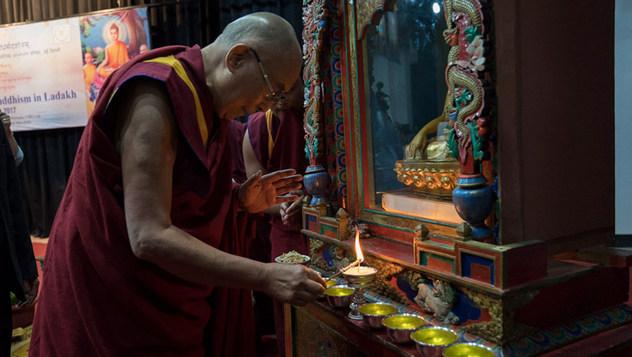 Далай-лама принял участие в открытии трехдневного семинара «Буддизм в Ладаке»