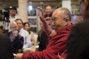 Его Святейшество Далай-лама выступает с заключительным словом в конце второго дня диалога с российскими учеными «Природа сознания». Нью-Дели, Индия. 8 августа 2017 г. Фото: Тензин Чойджор (офис ЕСДЛ)