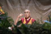 Его Святейшество Далай-лама во время дневной публичной лекции в конференц-центре «Ярхундертхалле». Франкфурт, Германия. 13 сентября 2017 г. Фото: Тензин Чойджор (офис ЕСДЛ)