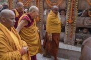 Паломники выглядывают из-за каменной ограды в надежде хоть мельком увидеть Его Святейшество Далай-ламу, совершающего обход вокруг храма Махабодхи. Бодхгая, штат Бихар, Индия. 2 января 2018 г. Фото: Тензин Чойджор.