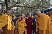 Его Святейшество Далай-лама прибывает в храм Махабодхи. Бодхгая, штат Бихар, Индия. 2 января 2018 г. Фото: Тензин Чойджор.