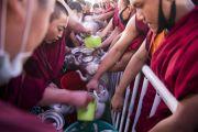 Волонтеры готовятся угостить чаем более 30 000 верующих, собравшихся на учения Его Святейшества Далай-ламы. Бодхгая, штат Бихар, Индия. 15 января 2018 г. Фото: Мануэль Бауэр.