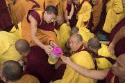 Монахи раздают освященную воду во время предварительных ритуалов, необходимых для посвящений, которые будет даровать Его Святейшество Далай-лама. Бодхгая, штат Бихар, Индия. 18 января 2018 г. Фото: Мануэль Бауэр.
