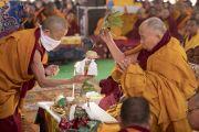 Его Святейшество Далай-лама проводит предварительные церемонии для посвящения Ямантаки 13-ти божеств. Бодхгая, штат Бихар, Индия. 19 января 2018 г. Фото: Мануэль Бауэр.