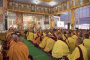 Вид на павильон Калачакры во время посвящения Ямантаки 13-ти божеств, даруемого Его Святейшеством Далай-ламой. Бодхгая, штат Бихар, Индия. 19 января 2018 г. Фото: Мануэль Бауэр.