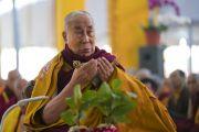 Его Святейшество Далай-лама проводит предварительные церемонии для посвящения одиночного Ямантаки. Бодхгая, штат Бихар, Индия. 21 января 2018 г. Фото: Лобсанг Церинг.