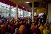 Его Святейшество Далай-лама читает текст во время учений по случаю Дня чудес. Дхарамсала, Индия. 2 марта 2018 г. Фото: Тензин Чойджор.