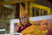 Его Святейшество Далай-лама возносит молитвы перед началом учений по случаю Дня чудес. Дхарамсала, Индия. 2 марта 2018 г. Фото: Тензин Чойджор.