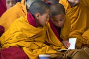 Юные монахи следят за текстом во время учений Его Святейшества Далай-ламы, организованных по случаю Дня чудес. Дхарамсала, Индия. 2 марта 2018 г. Фото: Тензин Чойджор.