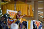 Его Святейшество Далай-лама дает комментарий к «Восхвалению взаимозависимого происхождения» Чже Цонкапы. Дхарамсала, Индия. 2 марта 2018 г. Фото: Тензин Чойджор.