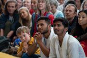 Некоторые из более чем 1200 индийских и иностранных туристов во время встречи с Его Святейшеством Далай-ламой. Дхарамсала, Индия. 9 июня 2018 г. Фото: Тензин Чойджор.