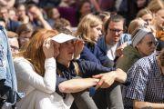 Слушатели во время публичной лекции Его Святейшества Далай-ламы в Вильнюсском университете. Вильнюс, Литва. 13 июня 2018 г. Фото: Тензин Чойджор.