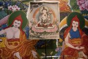 Изображение Белого Манджушри, установленное на сцене зала «Сконто» для благословения, даруемого Его Святейшеством Далай-ламой. Рига, Латвия. 18 июня 2018 г. Фото: Тензин Чойджор.