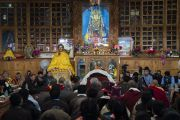 Вид на молитвенный зал храма Джокханг во время паломничества Его Святейшества Далай-ламы. Ле, Ладак, штат Джамму и Кашмир, Индия. 4 июля 2018 г. Фото: Тензин Чойджор.