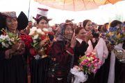 Члены мусульманских общин слушают наставления Его Святейшества Далай-ламы в новой мечети Дискит Джама Масджид. Дискит, Ладак, штат Джамму и Кашмир, Индия. 13 июля 2018 г. Фото: Тензин Чойджор.