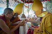 Ганден Трисур Ризонг Ринпоче преподносит Его Святейшеству Далай-ламе пилюли долгой жизни во время молебна о долгой жизни, организованного в монастыре Самстанлинг. Сумур, Ладак, штат Джамму и Кашмир, Индия. 17 июля 2018 г. Фото: Тензин Чойджор.