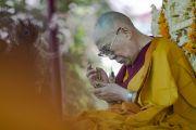Его Святейшество Далай-лама проводит подготовительные церемонии для посвящения долгой жизни. Сумур, Ладак, штат Джамму и Кашмир, Индия. 17 июля 2018 г. Фото: Тензин Чойджор.
