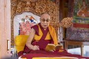 Его Святейшество Далай-лама дарует учения по «Краткому ламриму» Чже Цонкапы. Падум, Занскар, штат Джамму и Кашмир, Индия. 22 июля 2018 г. Фото: Тензин Чойджор.