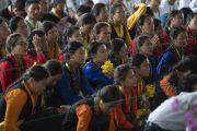 Слушатели во время лекции Его Святейшества в Институте высшего образования под эгидой Далай-ламы. Бангалор, штат Карнатака, Индия. 13 августа 2018 г. Фото: Тензин Чойджор.