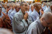 Члены корейского монашеского сообщества во время первого дня четырехдневных учений Его Святейшества Далай-ламы, организованных по просьбе буддистов из Юго-Восточной Азии. Дхарамсала, Индия. 4 сентября 2018 г. Фото: Тензин Чойджор.