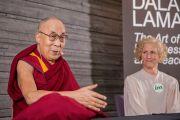 Его Святейшество Далай-лама и генеральный секретарь фонда IM Энн Свенсен во время встречи с журналистами. Мальмё, Швеция. 12 сентября 2018 г. Фото: Малин Килстрем/IM.